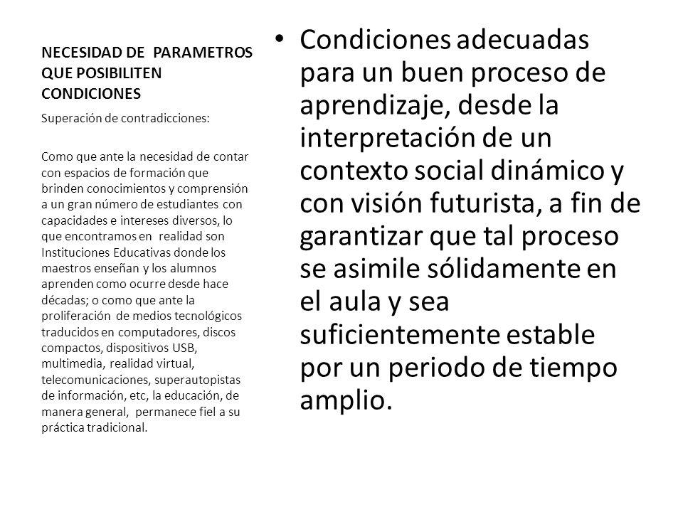 NECESIDAD DE PARAMETROS QUE POSIBILITEN CONDICIONES Condiciones adecuadas para un buen proceso de aprendizaje, desde la interpretación de un contexto