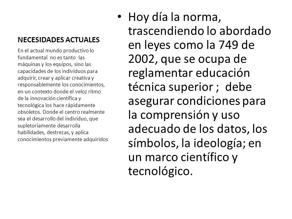 NECESIDADES ACTUALES Hoy día la norma, trascendiendo lo abordado en leyes como la 749 de 2002, que se ocupa de reglamentar educación técnica superior