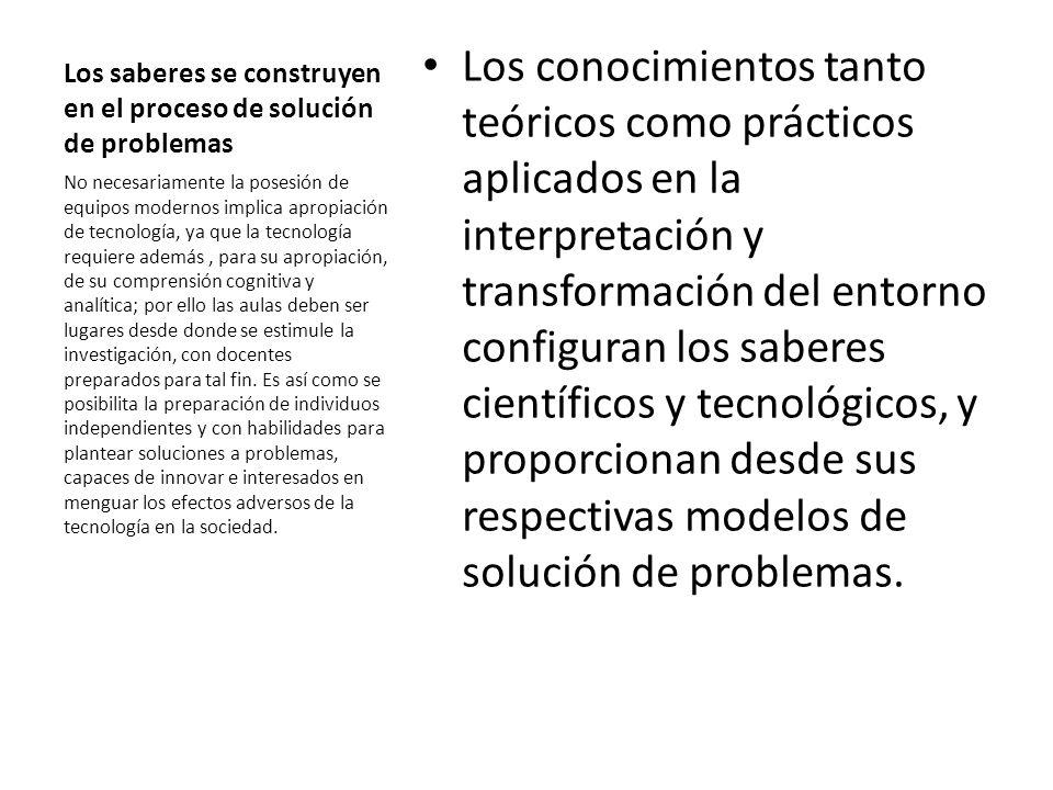 Los saberes se construyen en el proceso de solución de problemas Los conocimientos tanto teóricos como prácticos aplicados en la interpretación y tran