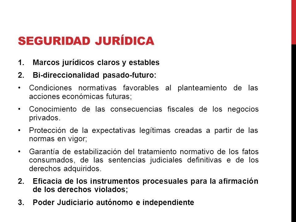 SEGURIDAD JURÍDICA 1.Marcos jurídicos claros y estables 2.Bi-direccionalidad pasado-futuro: Condiciones normativas favorables al planteamiento de las