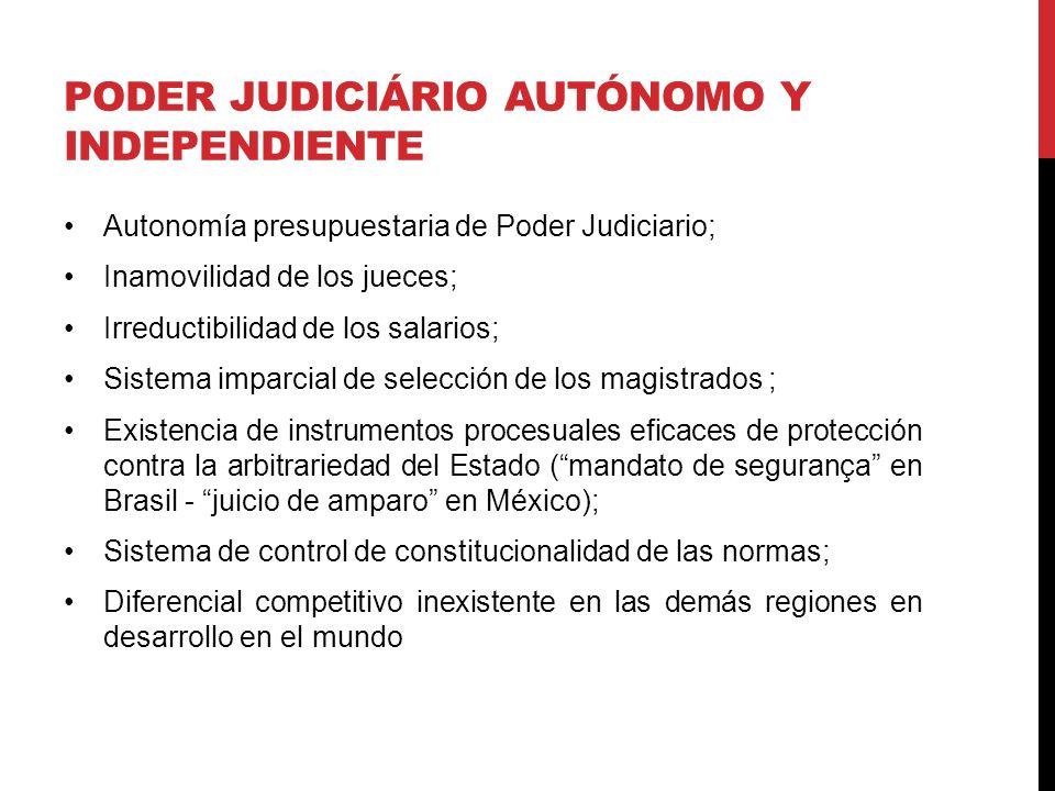 PODER JUDICIÁRIO AUTÓNOMO Y INDEPENDIENTE Autonomía presupuestaria de Poder Judiciario; Inamovilidad de los jueces; Irreductibilidad de los salarios; Sistema imparcial de selección de los magistrados ; Existencia de instrumentos procesuales eficaces de protección contra la arbitrariedad del Estado (mandato de segurança en Brasil - juicio de amparo en México); Sistema de control de constitucionalidad de las normas; Diferencial competitivo inexistente en las demás regiones en desarrollo en el mundo