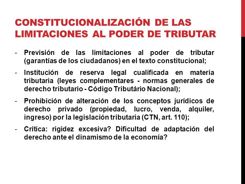 CONSTITUCIONALIZACIÓN DE LAS LIMITACIONES AL PODER DE TRIBUTAR -Previsión de las limitaciones al poder de tributar (garantías de los ciudadanos) en el