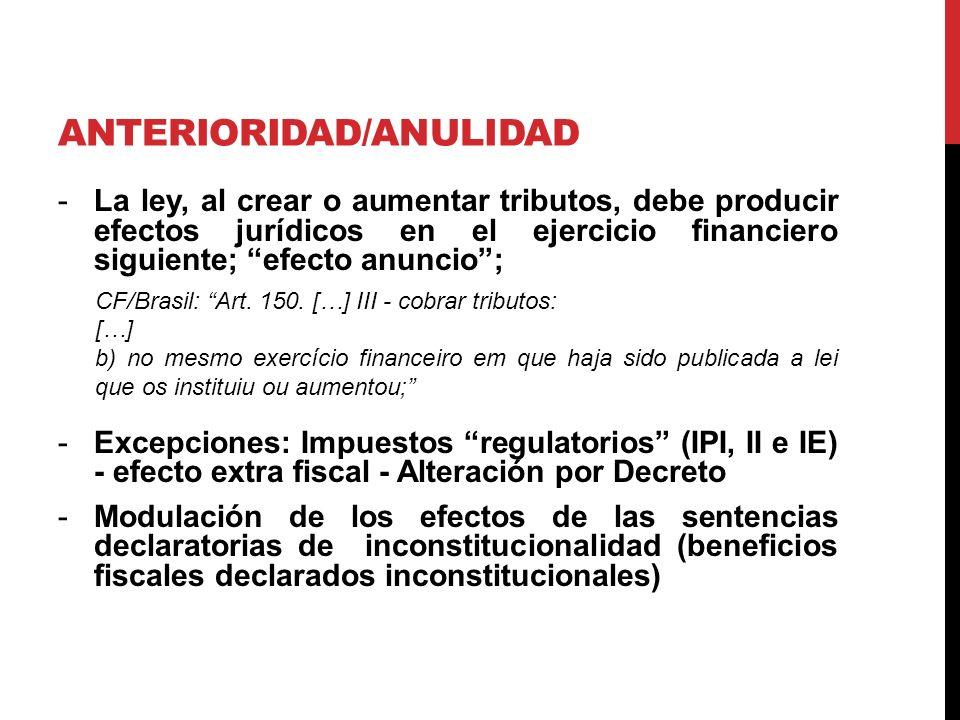 ANTERIORIDAD/ANULIDAD -La ley, al crear o aumentar tributos, debe producir efectos jurídicos en el ejercicio financiero siguiente; efecto anuncio; CF/Brasil: Art.