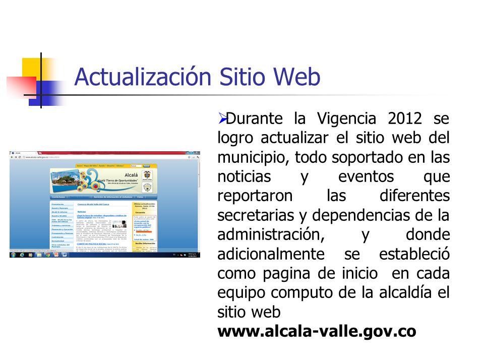 Actualización Sitio Web Durante la Vigencia 2012 se logro actualizar el sitio web del municipio, todo soportado en las noticias y eventos que reportar
