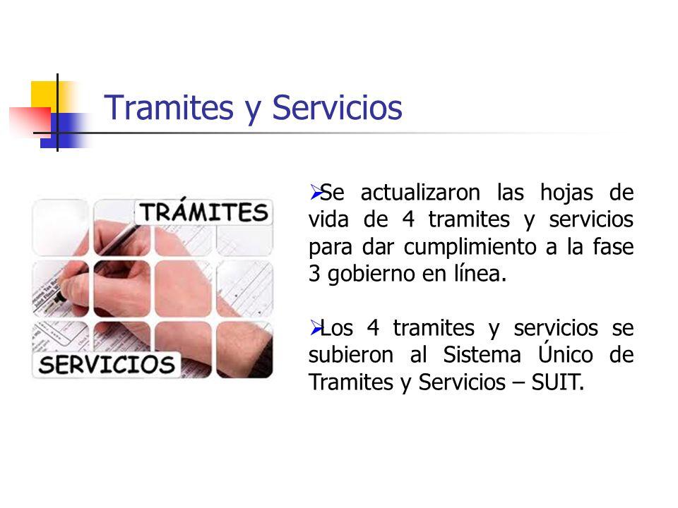 Tramites y Servicios Se actualizaron las hojas de vida de 4 tramites y servicios para dar cumplimiento a la fase 3 gobierno en línea. Los 4 tramites y