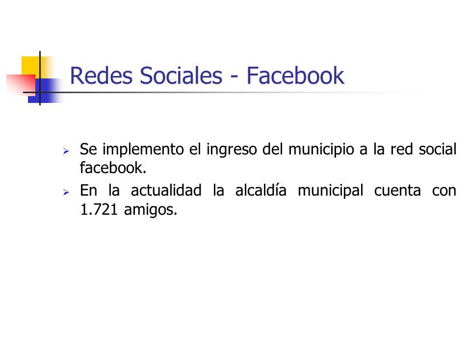 Redes Sociales - Facebook Se implemento el ingreso del municipio a la red social facebook. En la actualidad la alcaldía municipal cuenta con 1.721 ami