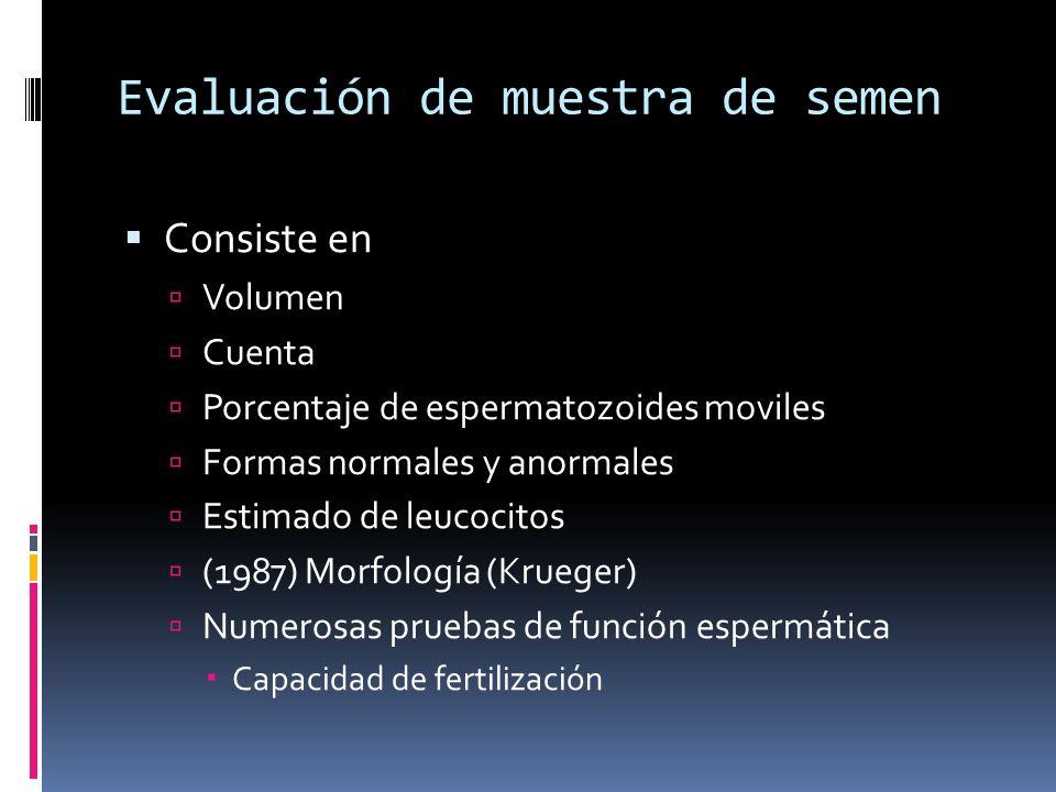 Evaluación de muestra de semen Consiste en Volumen Cuenta Porcentaje de espermatozoides moviles Formas normales y anormales Estimado de leucocitos (19