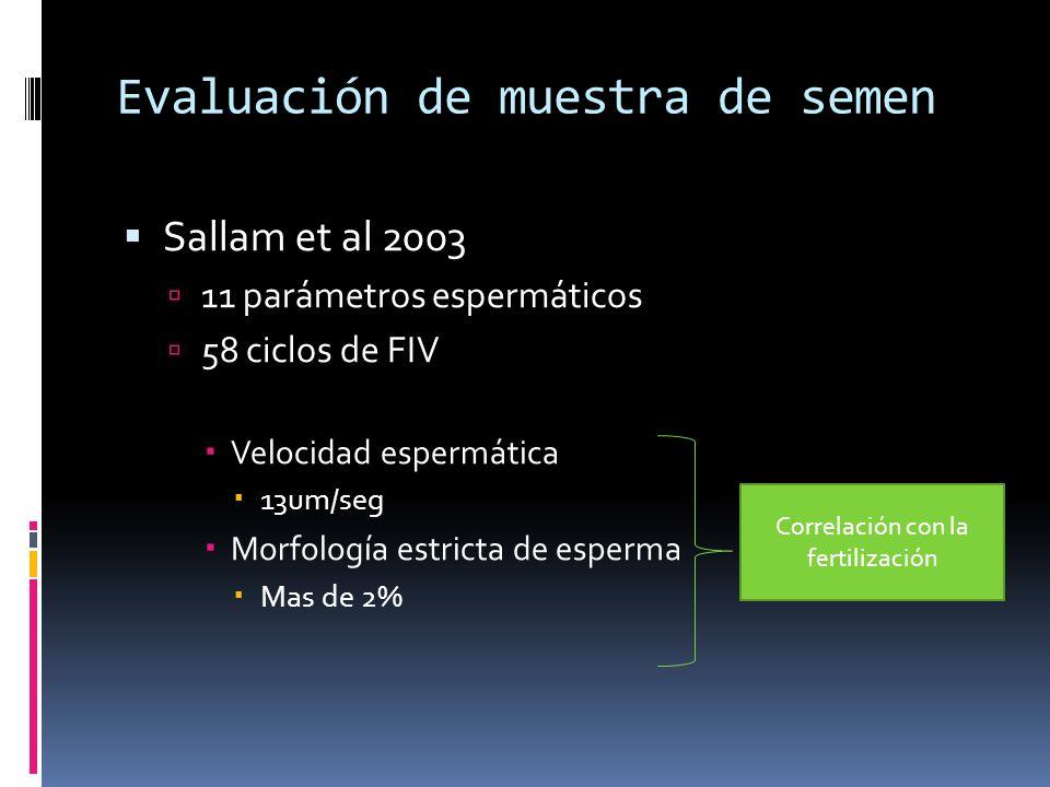 Evaluación de muestra de semen Sallam et al 2003 11 parámetros espermáticos 58 ciclos de FIV Velocidad espermática 13um/seg Morfología estricta de esp