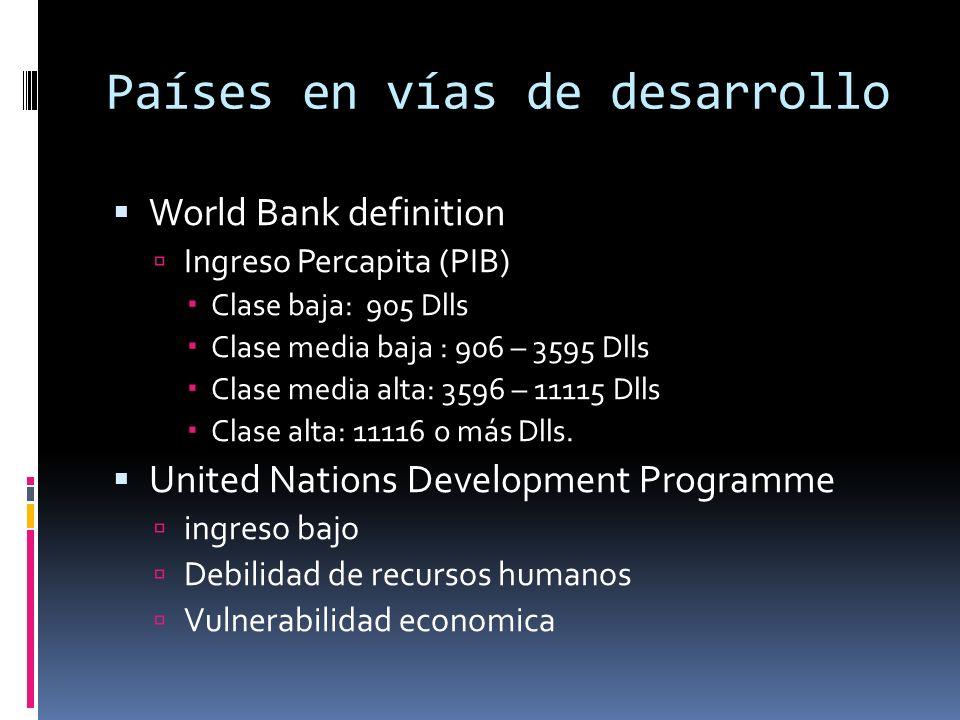 Países en vías de desarrollo World Bank definition Ingreso Percapita (PIB) Clase baja: 905 Dlls Clase media baja : 906 – 3595 Dlls Clase media alta: 3