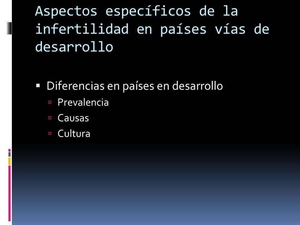 Aspectos específicos de la infertilidad en países en vías de desarrollo Diferencia en prevalencia Shangai, China: 3% Chile: 25.7% Infertilidad secundaria África del Norte: 16% Asia: 23% América Latina: 40% África subsahariana: 52%