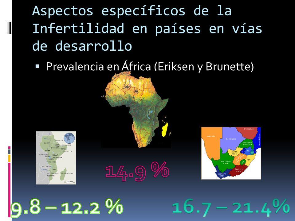 Aspectos específicos de la infertilidad en países en vías de desarrollo Variabilidad en causas de infertilidad Cates et.