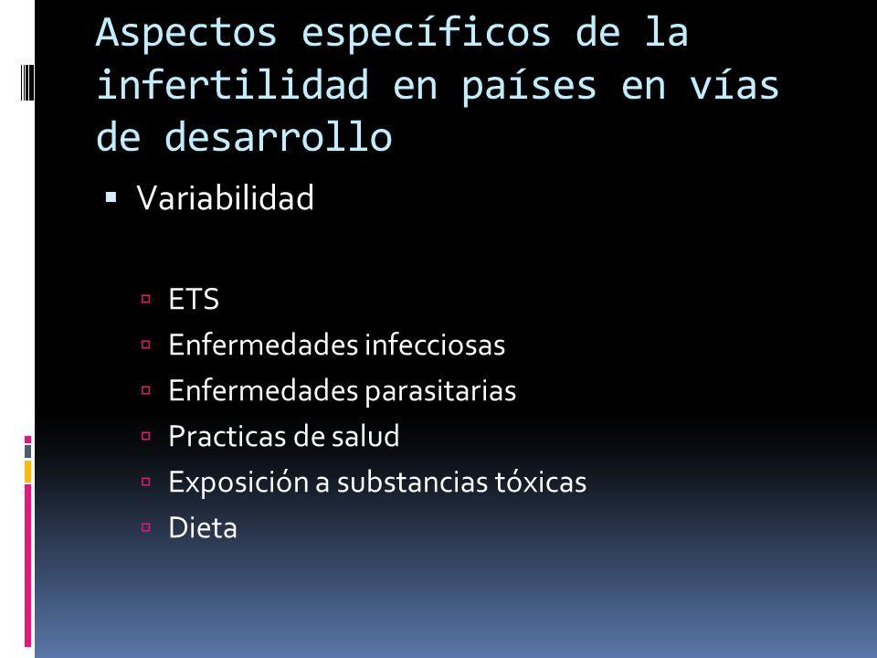 Aspectos específicos de la infertilidad en países en vías de desarrollo Variabilidad ETS Enfermedades infecciosas Enfermedades parasitarias Practicas