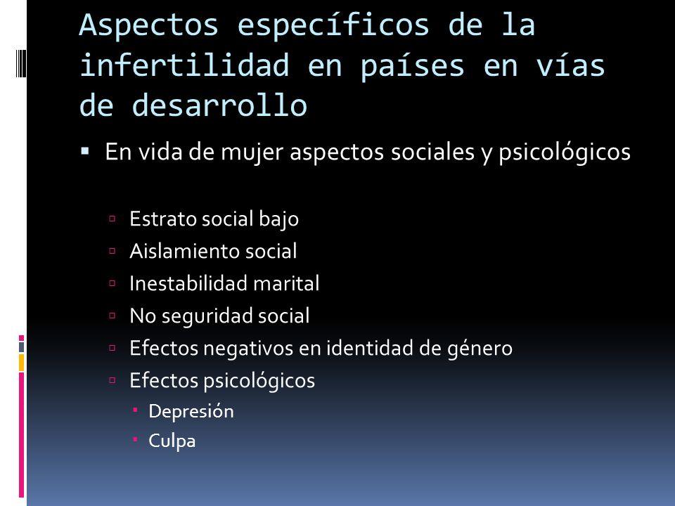 Aspectos específicos de la infertilidad en países en vías de desarrollo En vida de mujer aspectos sociales y psicológicos Estrato social bajo Aislamie