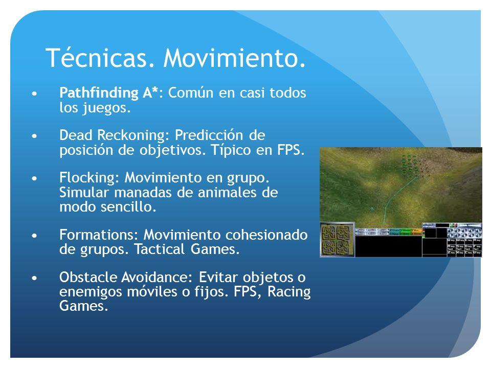 Técnicas. Movimiento. Pathfinding A*: Común en casi todos los juegos.