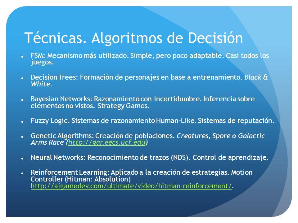 Técnicas. Algoritmos de Decisión FSM: Mecanismo más utilizado.
