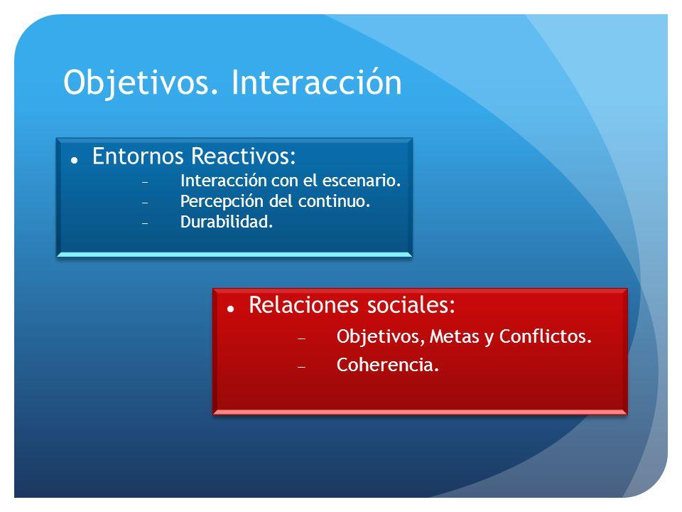 Objetivos. Interacción Relaciones sociales: Objetivos, Metas y Conflictos.