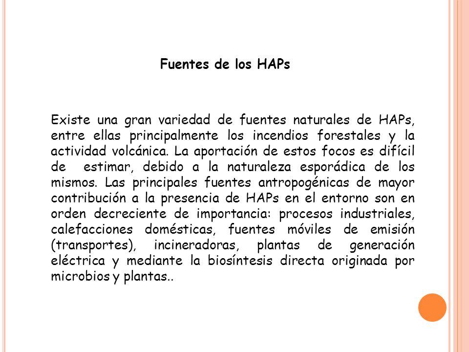 Tasas y rutas de entrada de HPAs Los HAPs pueden entrar a las aguas superficiales a través de las descargas de plantas industriales y de tratamiento de aguas residuales y pueden ser liberados a los suelos a partir de desechos peligrosos si estos se escapan de los contenedores de almacenamiento (Agudo, 2009).