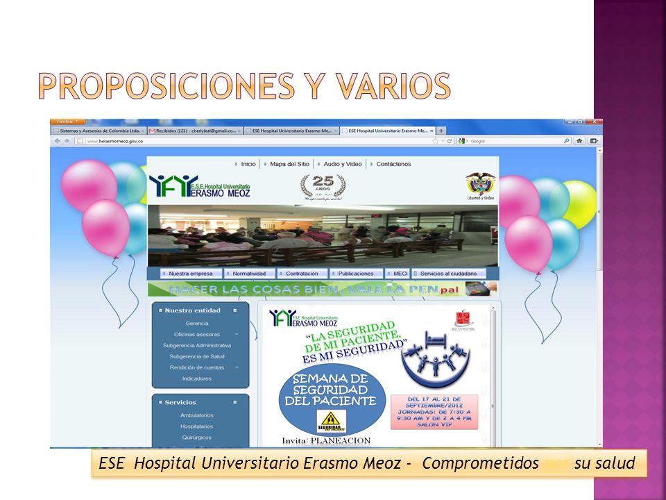 ESE Hospital Universitario Erasmo Meoz - Comprometidos por su salud ESE Hospital Universitario Erasmo Meoz - Comprometidos por su salud