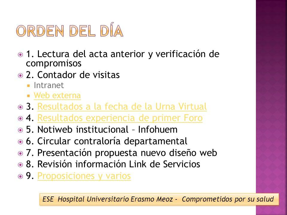 1.Lectura del acta anterior y verificación de compromisos 2.