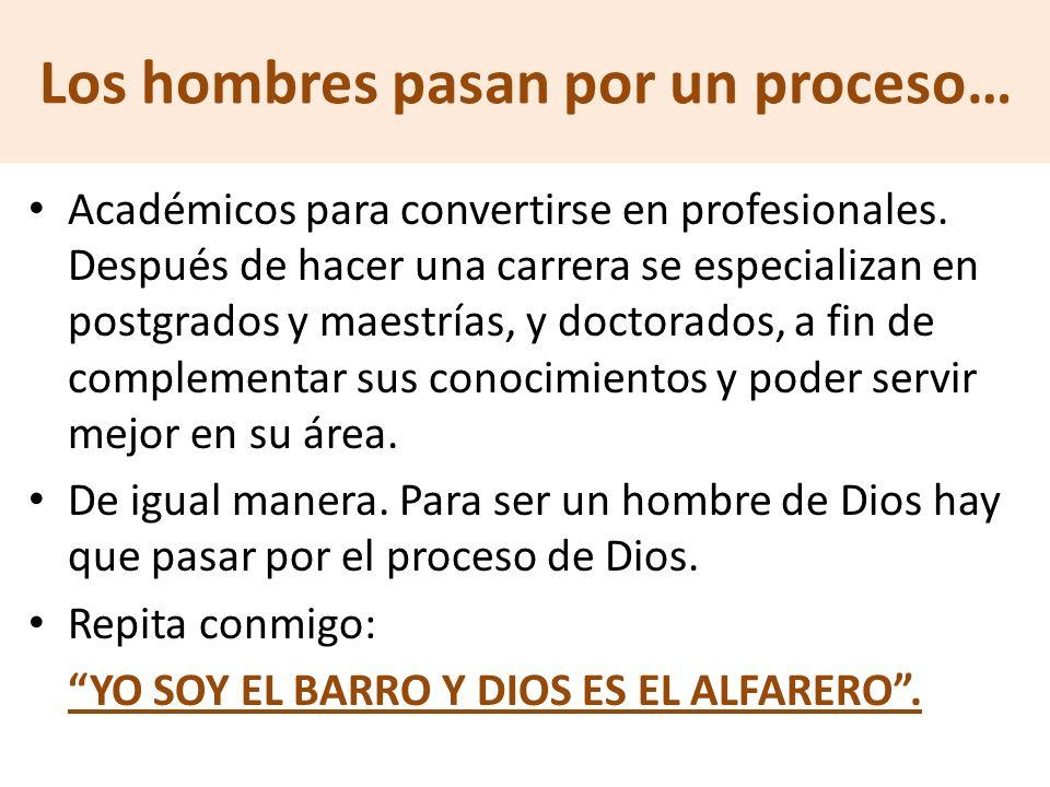 Durante el desarrollo de esta enseñanza, les voy abarcar tres áreas Relacionadas con el proceso por el que pasa un hombre para convertirse en hombre de Dios.