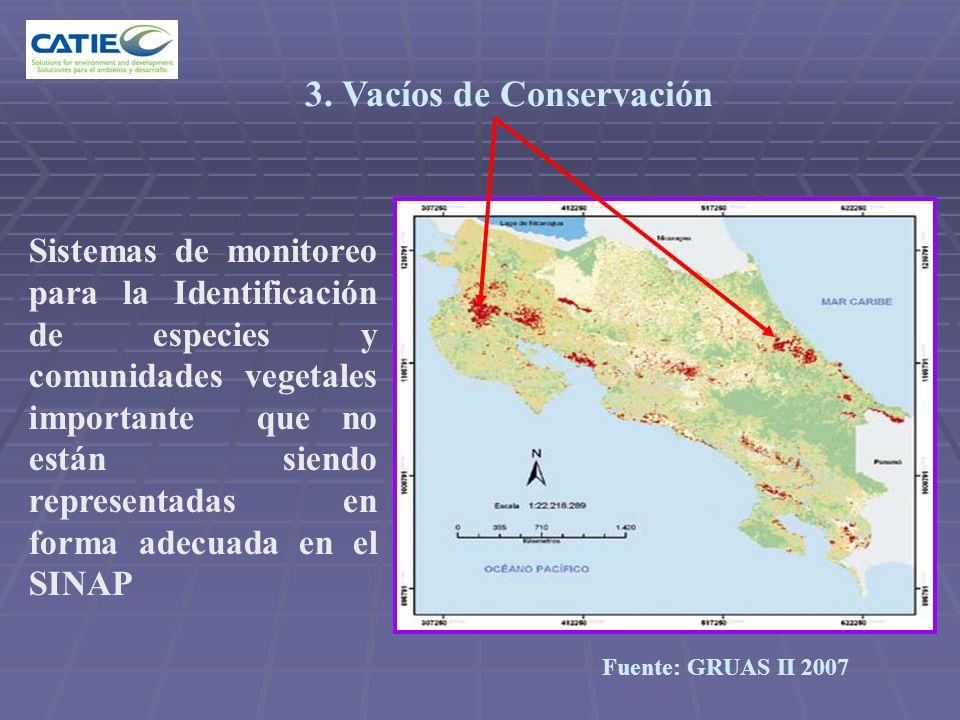3. Vacíos de Conservación Sistemas de monitoreo para la Identificación de especies y comunidades vegetales importante que no están siendo representada