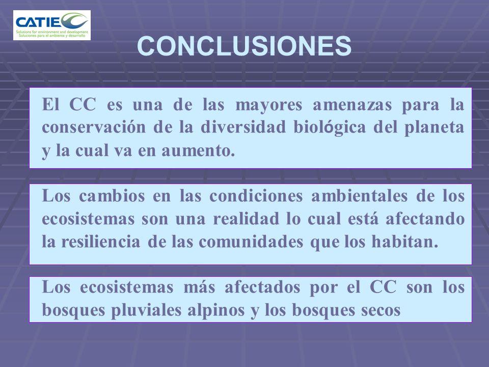 CONCLUSIONES El CC es una de las mayores amenazas para la conservación de la diversidad biol ó gica del planeta y la cual va en aumento. Los cambios e