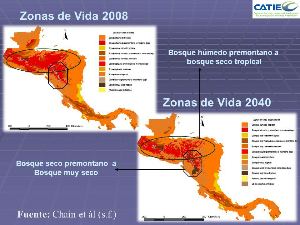 Zonas de Vida 2008 Zonas de Vida 2040 Bosque húmedo premontano a bosque seco tropical Bosque seco premontano a Bosque muy seco Fuente: Chain et ál (s.