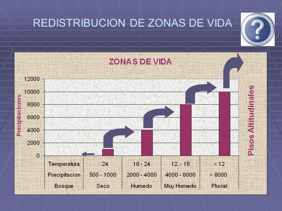 REDISTRIBUCION DE ZONAS DE VIDA Pisos Altitudinales