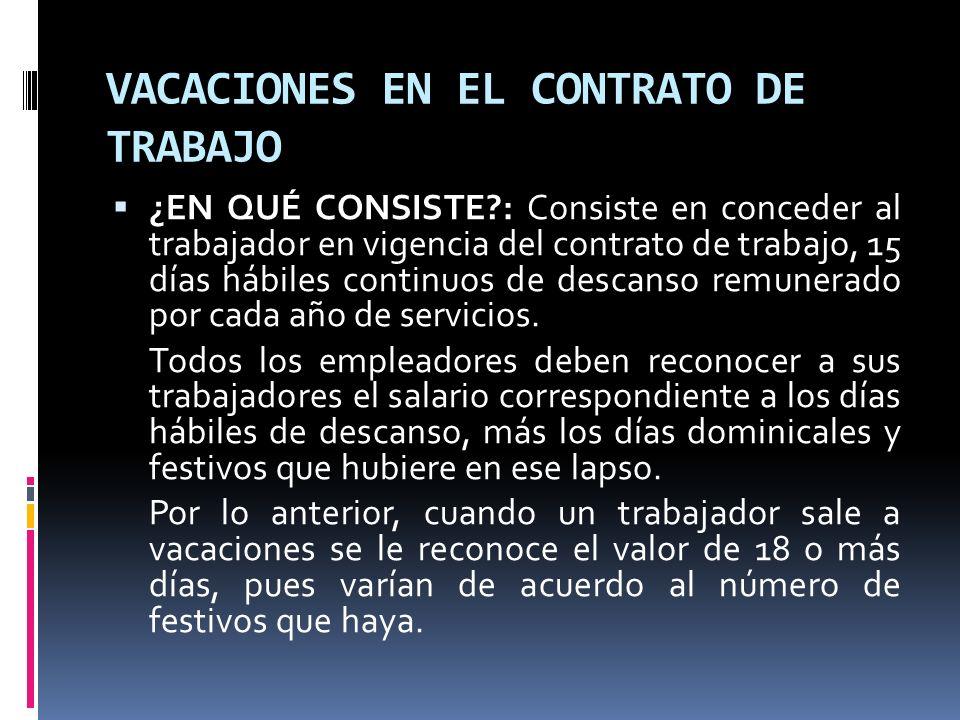 VACACIONES EN EL CONTRATO DE TRABAJO ¿EN QUÉ CONSISTE?: Consiste en conceder al trabajador en vigencia del contrato de trabajo, 15 días hábiles contin