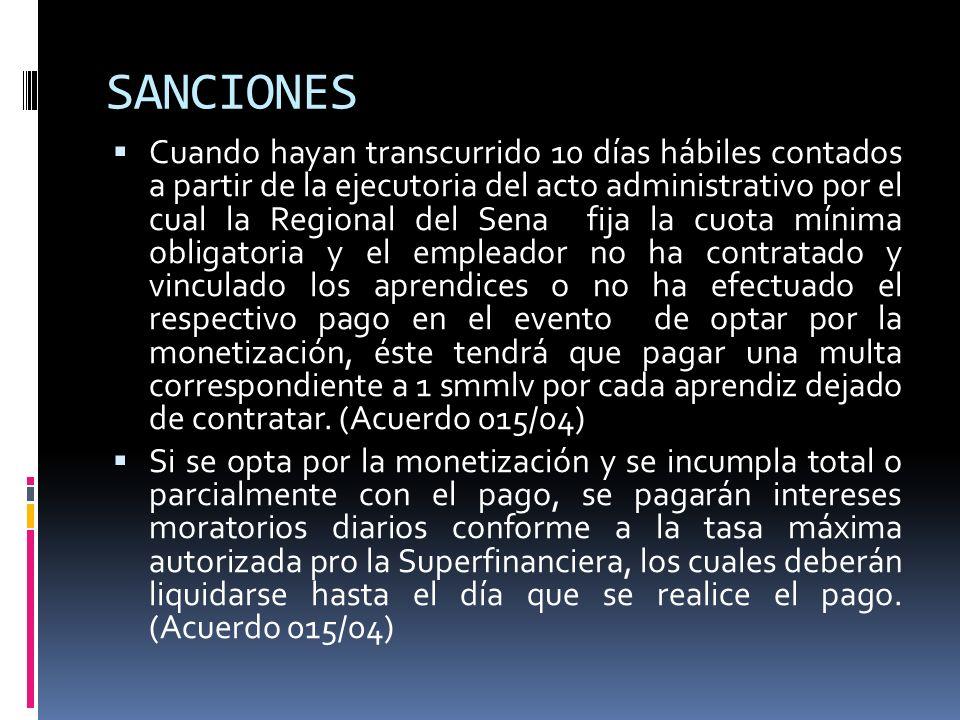 SANCIONES Cuando hayan transcurrido 10 días hábiles contados a partir de la ejecutoria del acto administrativo por el cual la Regional del Sena fija l