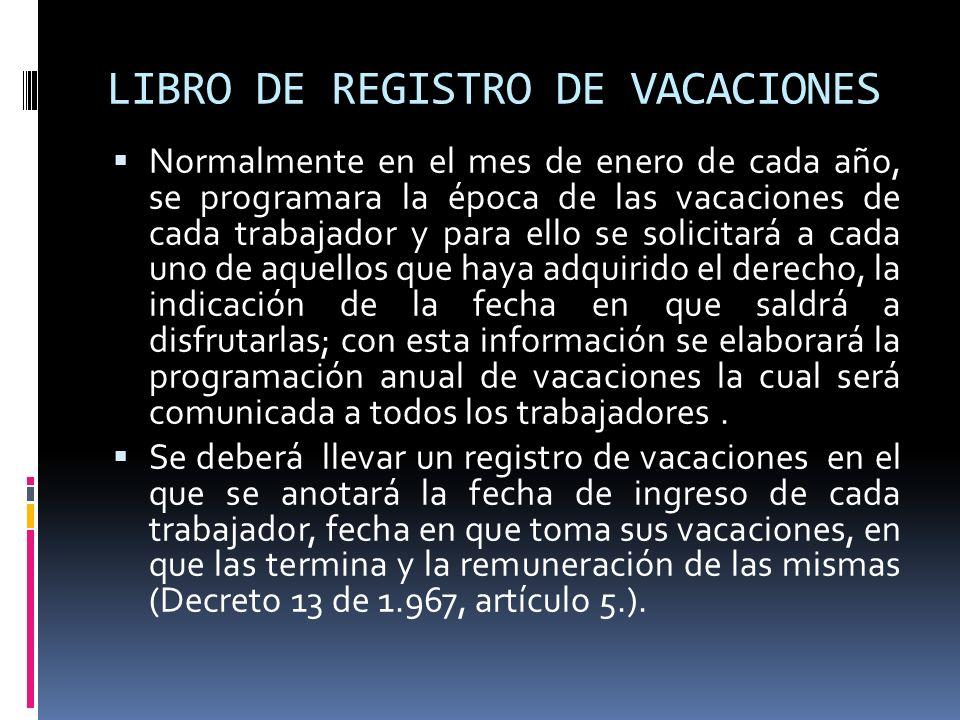 LIBRO DE REGISTRO DE VACACIONES Normalmente en el mes de enero de cada año, se programara la época de las vacaciones de cada trabajador y para ello se