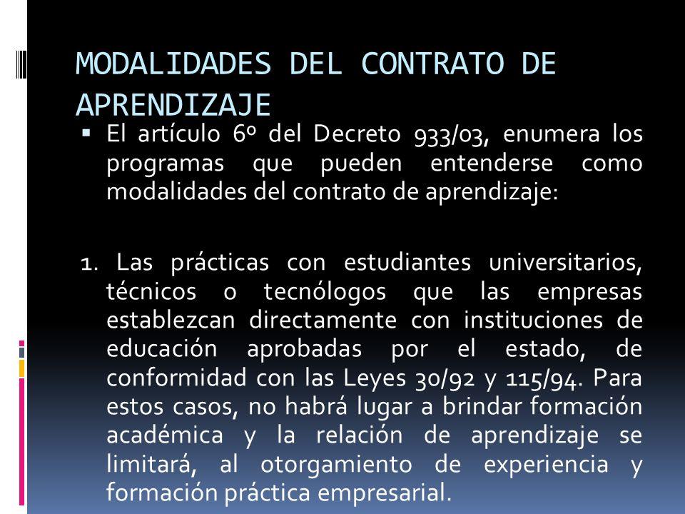 MODALIDADES DEL CONTRATO DE APRENDIZAJE El artículo 6º del Decreto 933/03, enumera los programas que pueden entenderse como modalidades del contrato d
