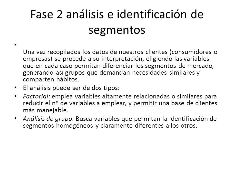 Fase 2 análisis e identificación de segmentos Una vez recopilados los datos de nuestros clientes (consumidores o empresas) se procede a su interpretac