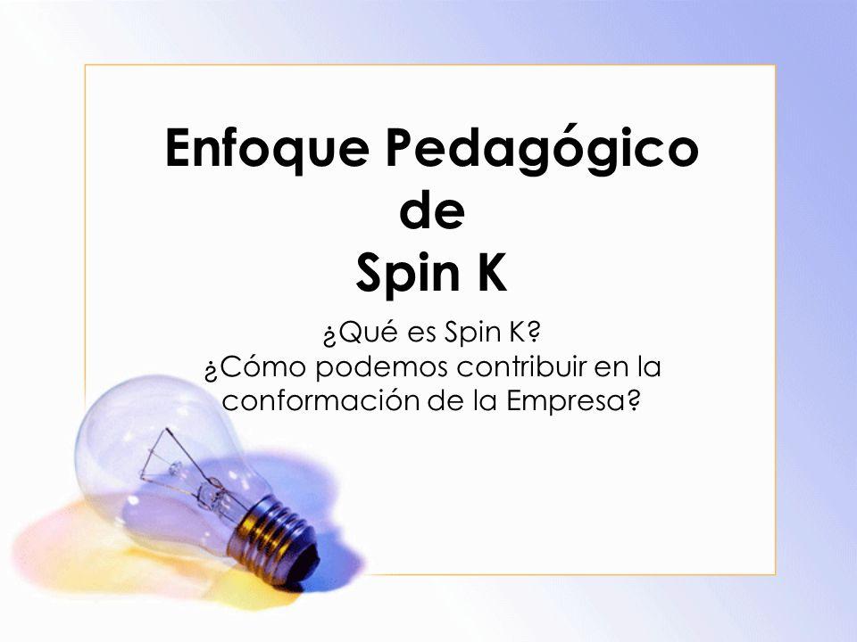 Enfoque Pedagógico de Spin K ¿Qué es Spin K? ¿Cómo podemos contribuir en la conformación de la Empresa?