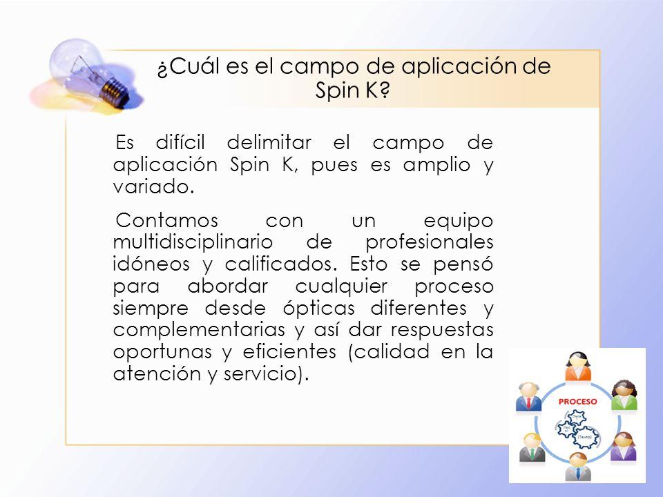 ¿Cuál es el campo de aplicación de Spin K? Es difícil delimitar el campo de aplicación Spin K, pues es amplio y variado. Contamos con un equipo multid