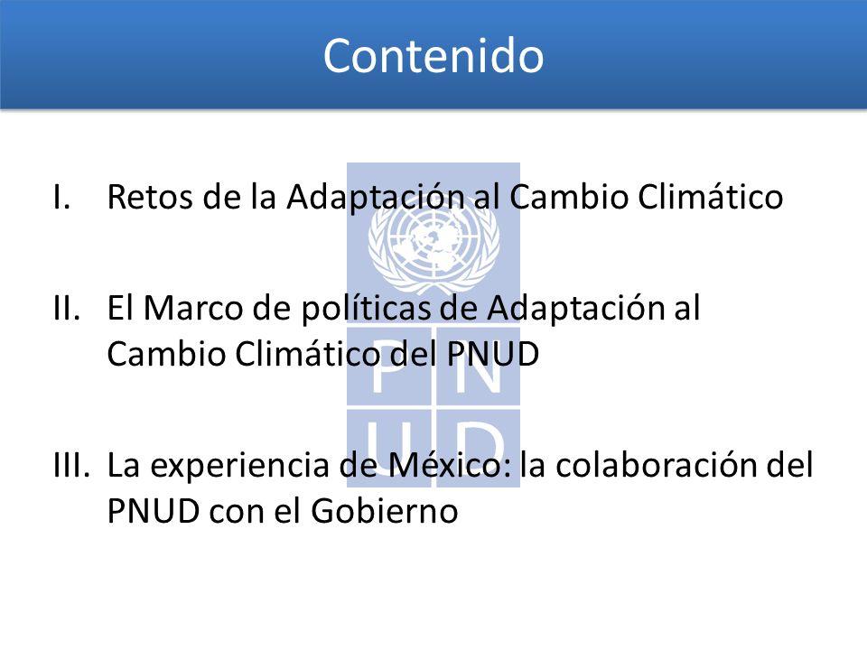 Contenido I.Retos de la Adaptación al Cambio Climático II.El Marco de políticas de Adaptación al Cambio Climático del PNUD III.La experiencia de México: la colaboración del PNUD con el Gobierno
