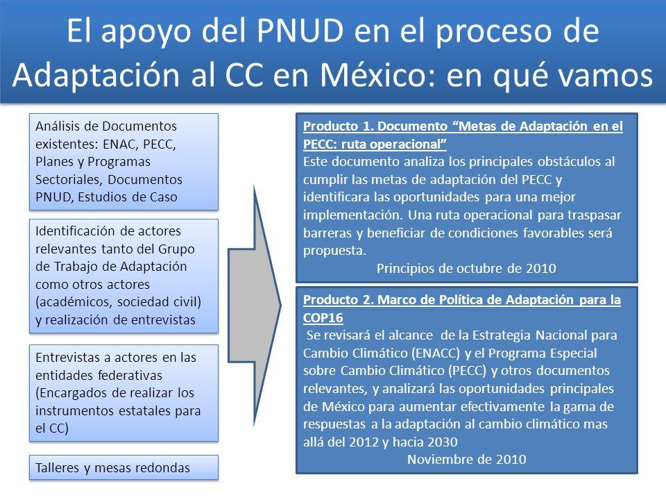 El apoyo del PNUD en el proceso de Adaptación al CC en México: en qué vamos Análisis de Documentos existentes: ENAC, PECC, Planes y Programas Sectoria