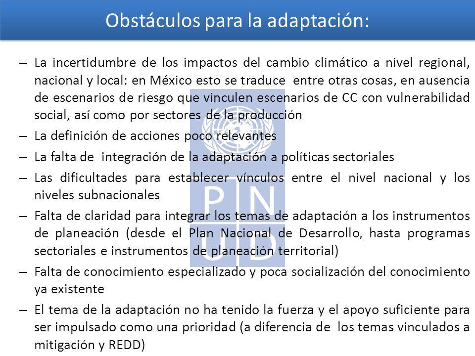 Obstáculos para la adaptación: – La incertidumbre de los impactos del cambio climático a nivel regional, nacional y local: en México esto se traduce entre otras cosas, en ausencia de escenarios de riesgo que vinculen escenarios de CC con vulnerabilidad social, así como por sectores de la producción – La definición de acciones poco relevantes – La falta de integración de la adaptación a políticas sectoriales – Las dificultades para establecer vínculos entre el nivel nacional y los niveles subnacionales – Falta de claridad para integrar los temas de adaptación a los instrumentos de planeación (desde el Plan Nacional de Desarrollo, hasta programas sectoriales e instrumentos de planeación territorial) – Falta de conocimiento especializado y poca socialización del conocimiento ya existente – El tema de la adaptación no ha tenido la fuerza y el apoyo suficiente para ser impulsado como una prioridad (a diferencia de los temas vinculados a mitigación y REDD)