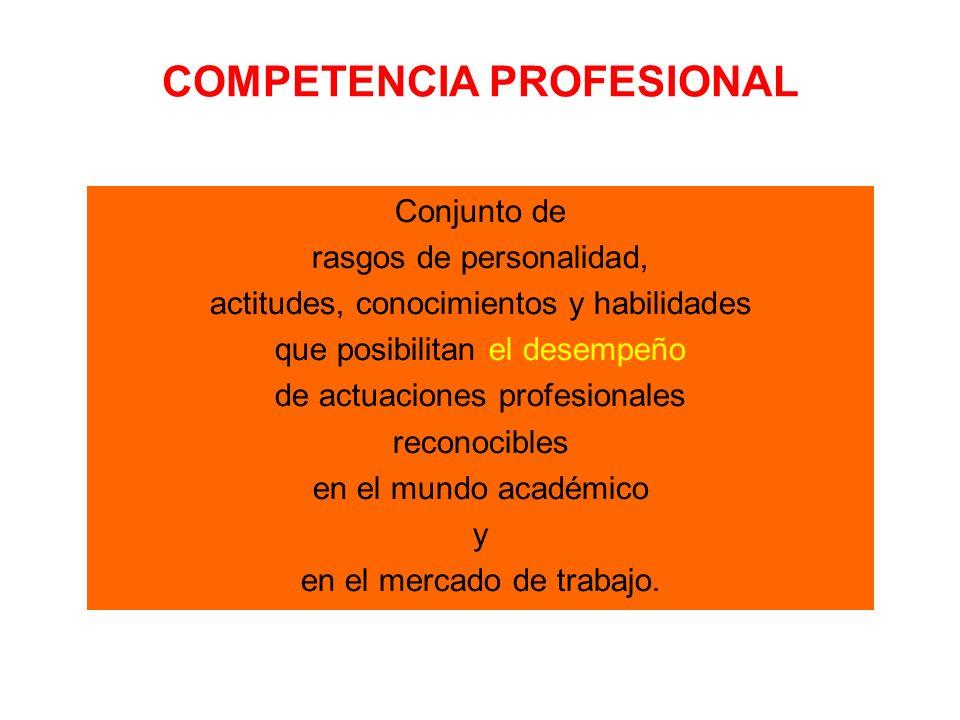 COMPETENCIA PROFESIONAL Conjunto de rasgos de personalidad, actitudes, conocimientos y habilidades que posibilitan el desempeño de actuaciones profesionales reconocibles en el mundo académico y en el mercado de trabajo.