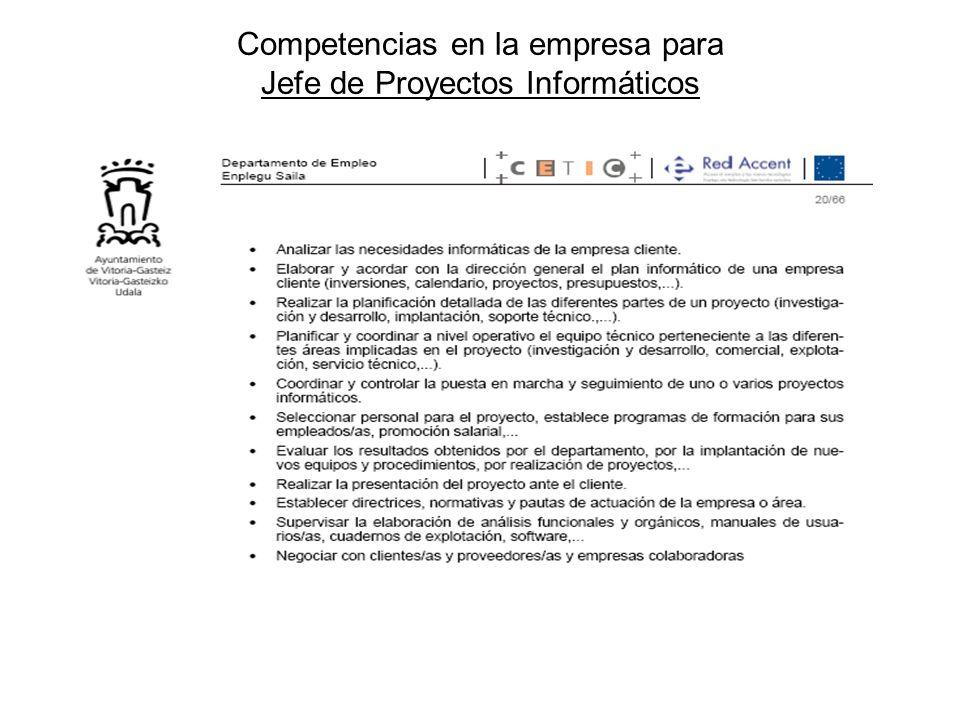 Competencias en la empresa para Jefe de Proyectos Informáticos