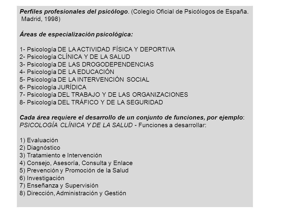 Perfiles profesionales del psicólogo.(Colegio Oficial de Psicólogos de España.