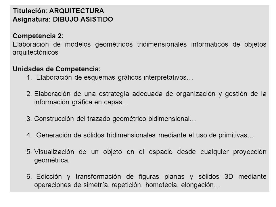 Titulación: ARQUITECTURA Asignatura: DIBUJO ASISTIDO Competencia 2: Elaboración de modelos geométricos tridimensionales informáticos de objetos arquitectónicos Unidades de Competencia: 1.