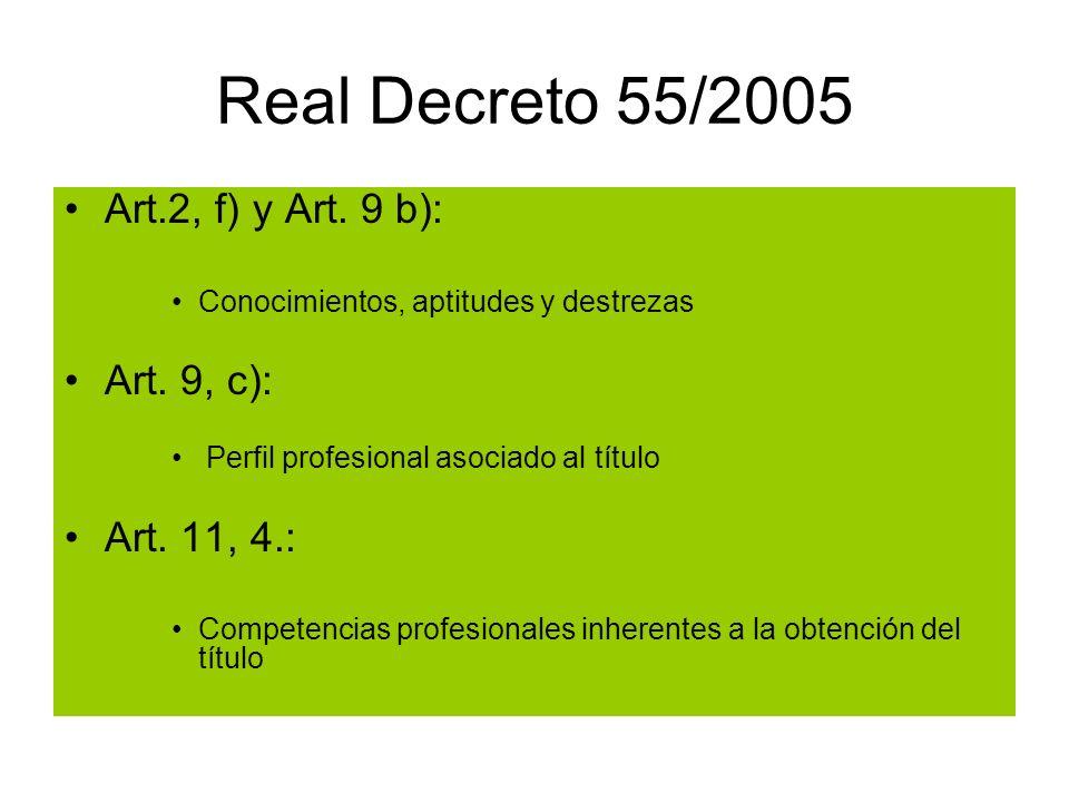 Real Decreto 55/2005 Art.2, f) y Art.9 b): Conocimientos, aptitudes y destrezas Art.