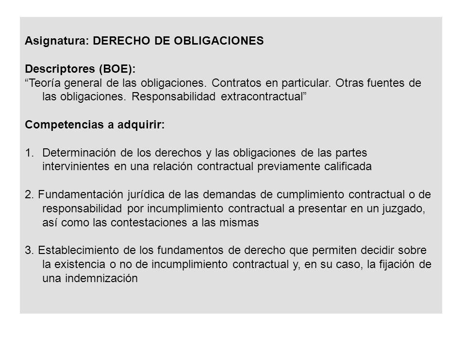 Asignatura: DERECHO DE OBLIGACIONES Descriptores (BOE): Teoría general de las obligaciones.