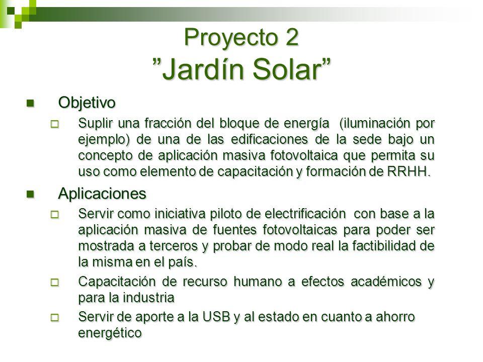 Proyecto 2 Jardín Solar Objetivo Objetivo Suplir una fracción del bloque de energía (iluminación por ejemplo) de una de las edificaciones de la sede b