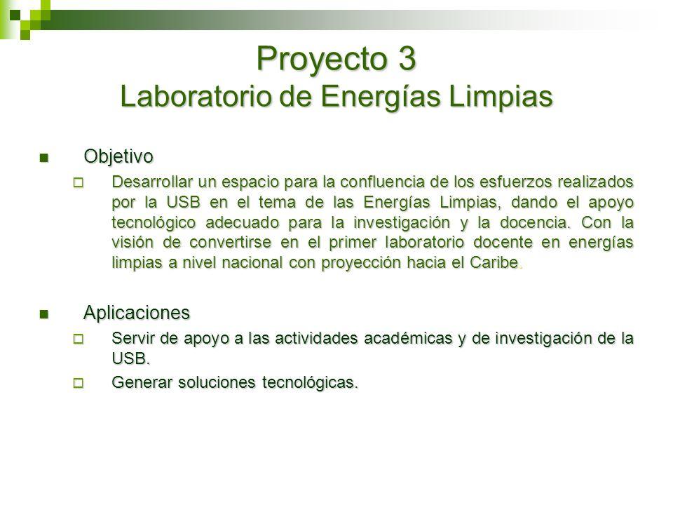 Proyecto 3 Laboratorio de Energías Limpias Objetivo Objetivo Desarrollar un espacio para la confluencia de los esfuerzos realizados por la USB en el t