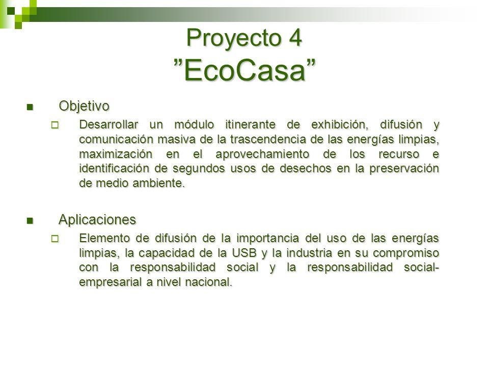 Proyecto 4 EcoCasa Objetivo Objetivo Desarrollar un módulo itinerante de exhibición, difusión y comunicación masiva de la trascendencia de las energía