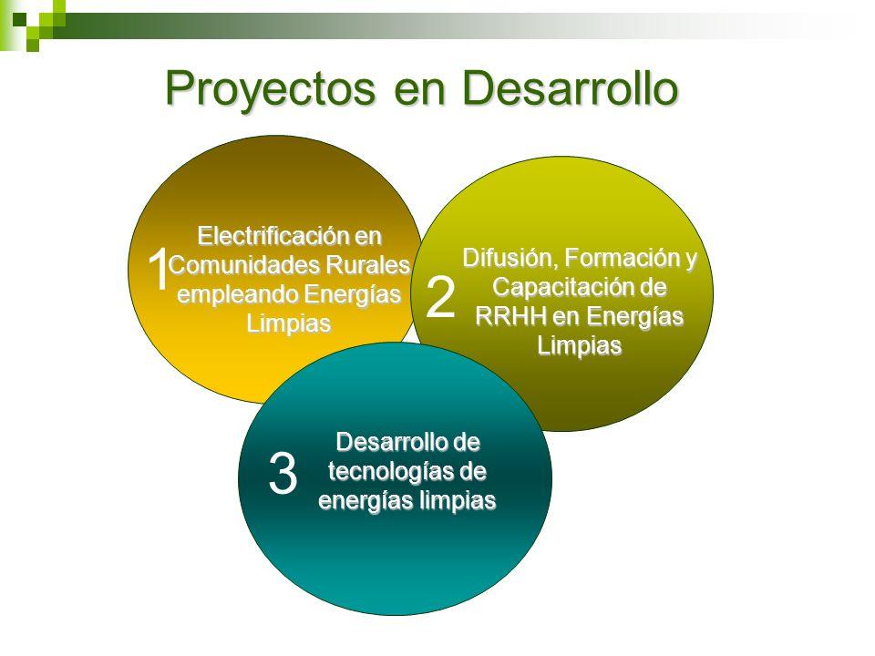 Proyectos en Desarrollo Electrificación en Comunidades Rurales empleando Energías Limpias 1 Difusión, Formación y Capacitación de RRHH en Energías Lim