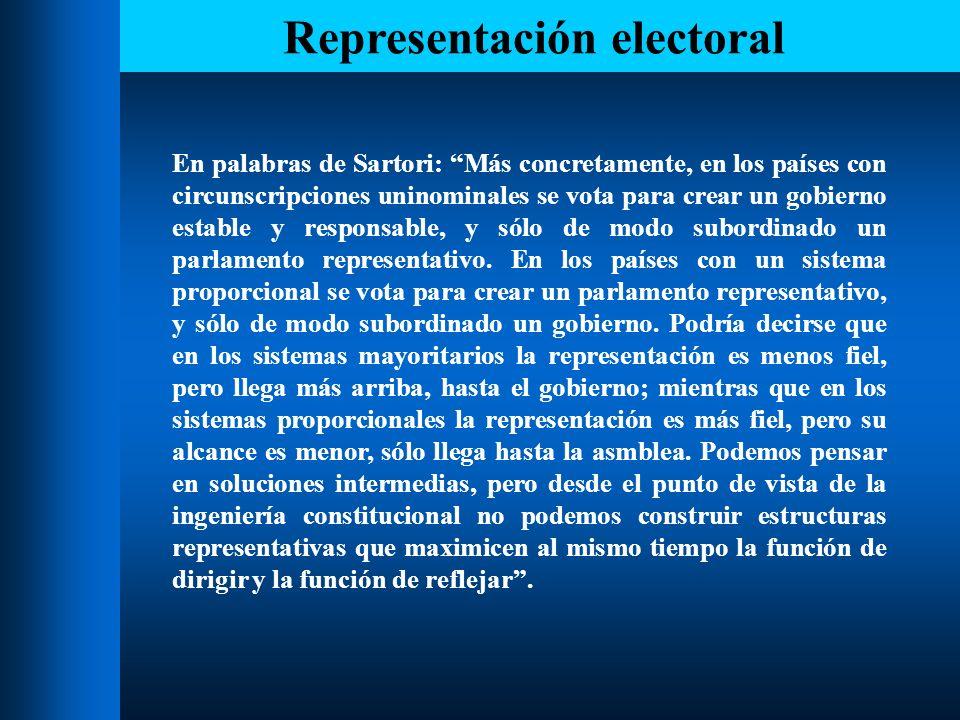 Representación electoral Este dilema entre representatividad y responsabilidad es resuelto con rotundidad por Rae y Duverger al elegir un modelo de sistema electoral orientado a la toma de decisiones.