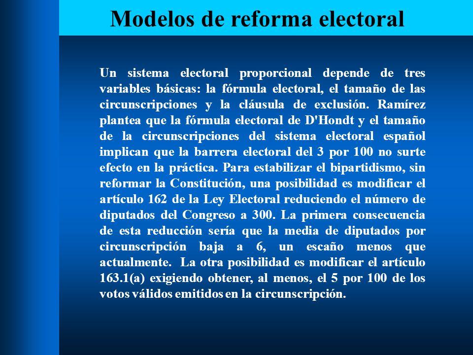 Modelos de reforma electoral A continuación, se modelan los efectos de ambas propuestas con los resultados de las elecciones de 1993.